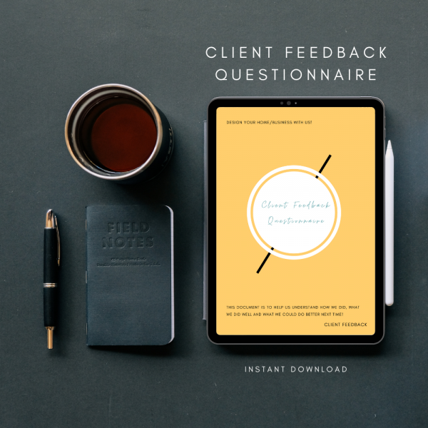The Interior Designers Club Client Feedback Questionnaire in use on a tablet screen on a desktop mockup with a dark gray background