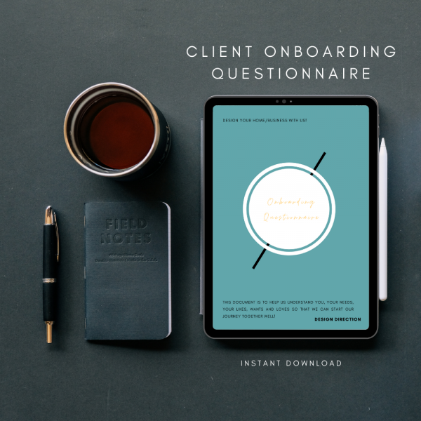Aarti Popat's The Interior Designers Club Client Onboarding Questionnaire shown on a tablet screen next to a mug of coffee, notebook and pen