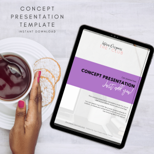 Aarti Popat's The Interior Designers Club Concept Presentation Template shown on a tablet screen next to a cup of tea