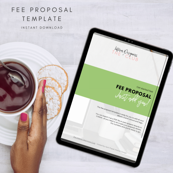 The Interior Designers Club Fee Proposal Template viewed on an Ipad screen, nect to a cup of black tea held by a female hand, with lemon slices on the saucer