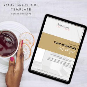 The Interior Designers Club Your Brochure Template on a tablet screen on a light grey background