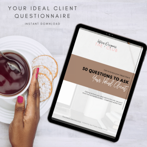 The Interior Designers Club Your Ideal Client Questionnaire shown on a tablet screen at a table with a female hand holding a tea cup