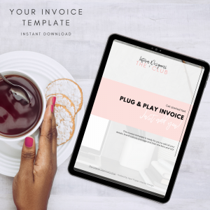The Interior Designers Club Invoice Template viewed on a tablet screen next to a female hand with painted fingernails holding a cup and saucer of tea on a light grey background